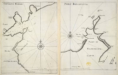 Cartography Photograph - Map Of The Area Around Newfoundland by British Library