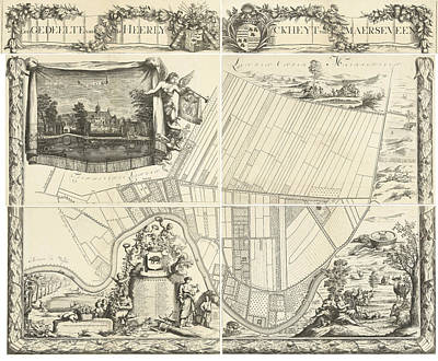 House Plant Drawing - Map Of The Heerlijkheid Maarsseveen, The Netherlands by Philibert Bouttats