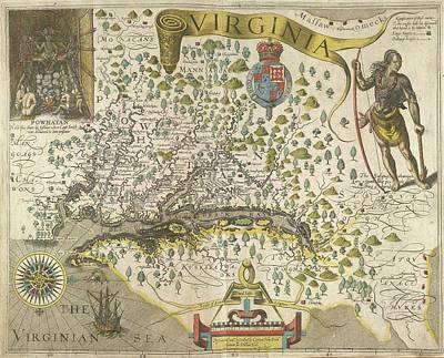 Theodor De Bry Photograph - Map Of Virginia by British Library
