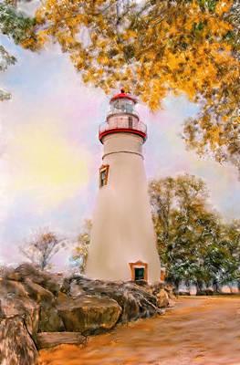 Ipad Mixed Media - Marble Head  Lighthouse by Mary Timman