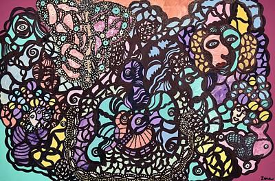 Outsider Painting - Mardi Gra Celebration by Sally Barnard