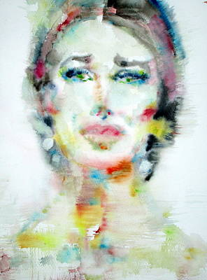 Maria Callas - Watercolor Portrait.2 Original by Fabrizio Cassetta