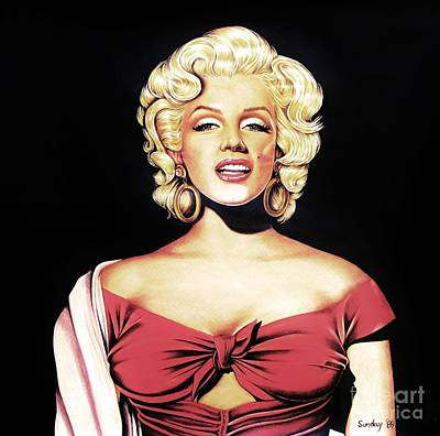 Drawing - Marilyn In Red by Joseph Sonday