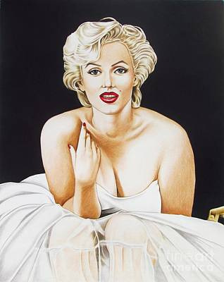 Movie Stars Drawings Drawing - Marilyn In White by Joseph Sonday