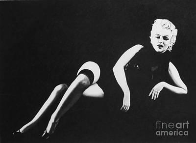 Drawing - Marilyn Reclining by Joseph Sonday