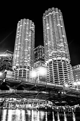 Marina City Towers At Night Black And White Picture Art Print by Paul Velgos