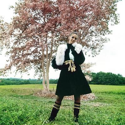 Photograph - Marisa Berenson Wearing A Fur Coat by Arnaud de Rosnay