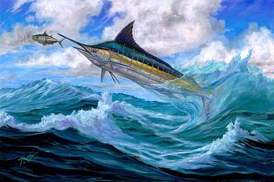 Blue Marlin Painting - Marlin Low-flying by Terry  Fox