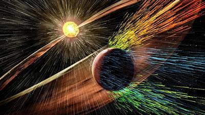 Mars Losing Atmosphere In Solar Wind Art Print