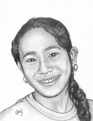 Drawing - Marshallese Girl 1 by Lew Davis