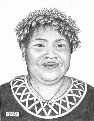 Drawing - Marshallese Woman 2 by Lew Davis