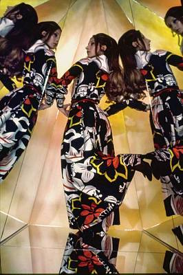 Photograph - Marta Montt Wearing A Floral Dress by Raymundo de Larrain