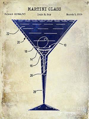 Martini Glass Patent Drawing Two Tone  Art Print