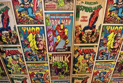 Captain America Photograph - Marvel Comics Heroes by Ken Welsh