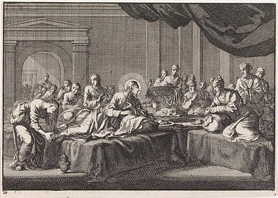 Mary Magdalene Washes The Feet Of Christ Art Print by Jan Luyken And Pieter Mortier