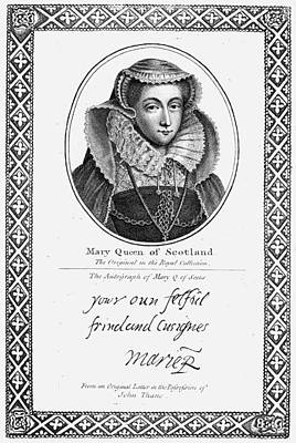 Autographed Painting - Mary, Queen Of Scots (1542-1587) by Granger