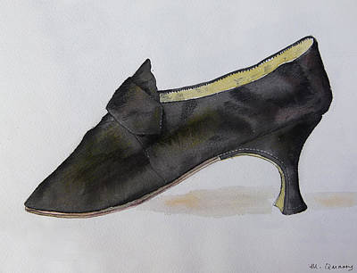 Social History Painting - Mary Queen Of Scots Plain Black Satin Shoe by Mary Quarry