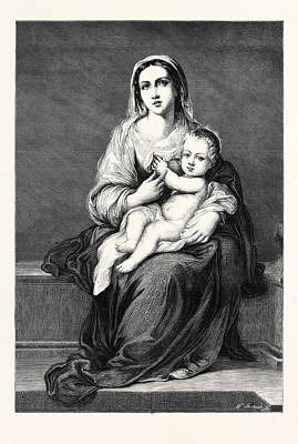 Jesus Drawing - Mary With The Child Jesus by German School