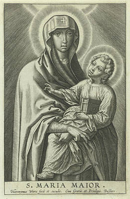 Children Book Drawing - Mary With The Christ Child, Hieronymus Wierix by Hieronymus Wierix