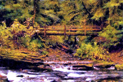 Digital Art - Marymere Falls Bridge by Kaylee Mason