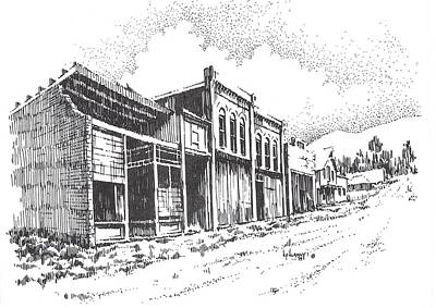 Abandoned Building Drawing - Marysville Ghost Town Montana by Kevin Heaney
