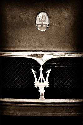Car Photograph - Maserati Hood - Grille Emblems by Jill Reger
