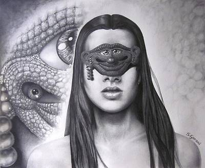 Drawing - Masked Beauty by Geni Gorani