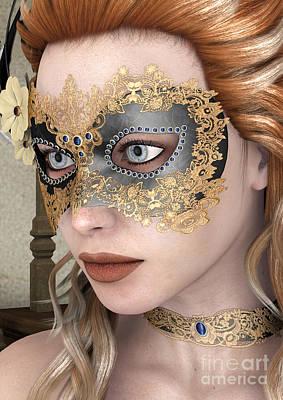 Digital Art - Masquerade Mask by Design Windmill