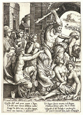 Driving Out Drawing - Master Of The Die Italian, Born Ca. 1512 by Litz Collection