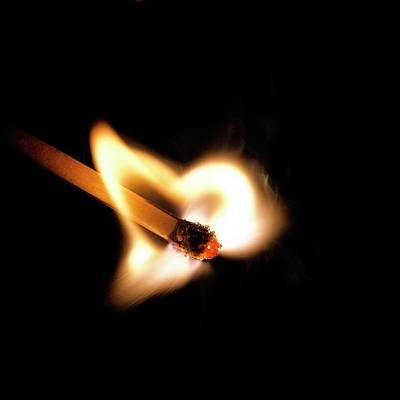 Bright Colours Photograph - Matchstick On Fire by Science Photo Library
