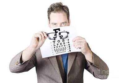Ophthalmologists Photograph - Mature Man Holding Glasses And Eye Checking Chart by Jorgo Photography - Wall Art Gallery