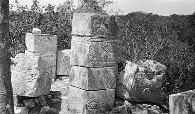 Stone Carving Photograph - Mayan Temple Carvings by American Philosophical Society