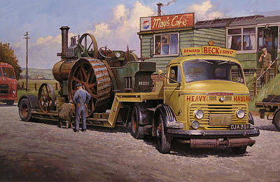 Trailer Painting - May's Transport Cafe. by Mike  Jeffries