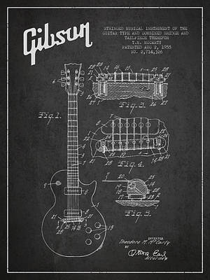 Antiques Digital Art - Mccarty Gibson Les Paul Guitar Patent Drawing From 1955 -  Dark by Aged Pixel
