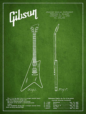 Bass Digital Art - Mccarty Gibson Stringed Instrument Patent Drawing From 1958 - Green by Aged Pixel