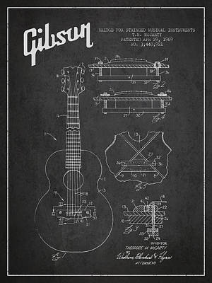 Technical Drawing Digital Art - Mccarty Gibson Stringed Instrument Patent Drawing From 1969 - Dark by Aged Pixel