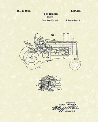 Farming Drawing - Mccormick Tractor 1942 Patent Art by Prior Art Design