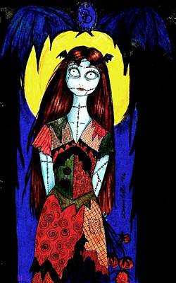 Nightmare Before Christmas Drawing - Me In The Role Of Sally by Donatella Muggianu