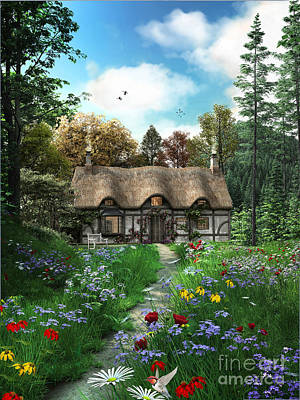 Meadow Cottage Art Print