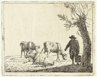 Meadow Landscape With Man Bucket With Three Cows Art Print
