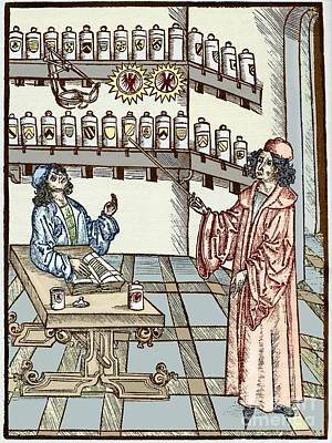 Adult Coloring Book Photograph - Medieval Physician And Pharmacist by Sheila Terry
