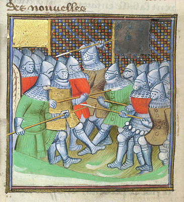 Medieval Soldiers Fighting Art Print by British Library