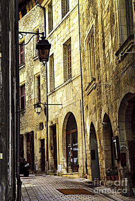 Streetlight Photograph - Medieval Street In France by Elena Elisseeva