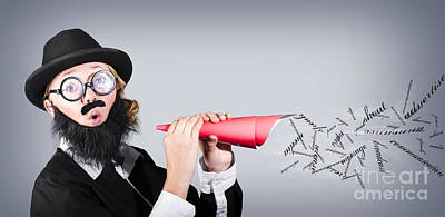 Megaphone Man Making Loud Business Noise Art Print by Jorgo Photography - Wall Art Gallery