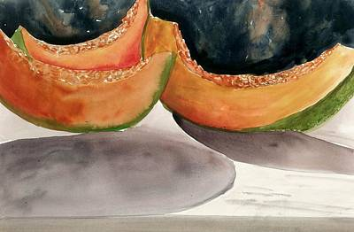 Cantaloupe Painting - Melons by Steven Schultz