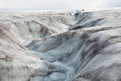 Meltwater On Langjokull Ice Cap Art Print by Ashley Cooper