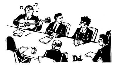 September 19th Drawing - Members At A Board Meeting Sit. One Man by Drew Dernavich