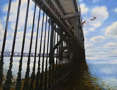 Diving Board Painting - Memories Of Brighton-le-sands Baths by Jon Falkenmire