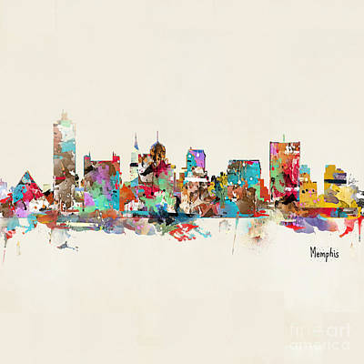 Painting - Memphis Tennessee Skyline by Bleu Bri