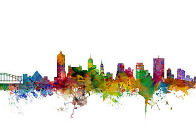 Tennessee Digital Art - Memphis Tennessee Skyline by Michael Tompsett